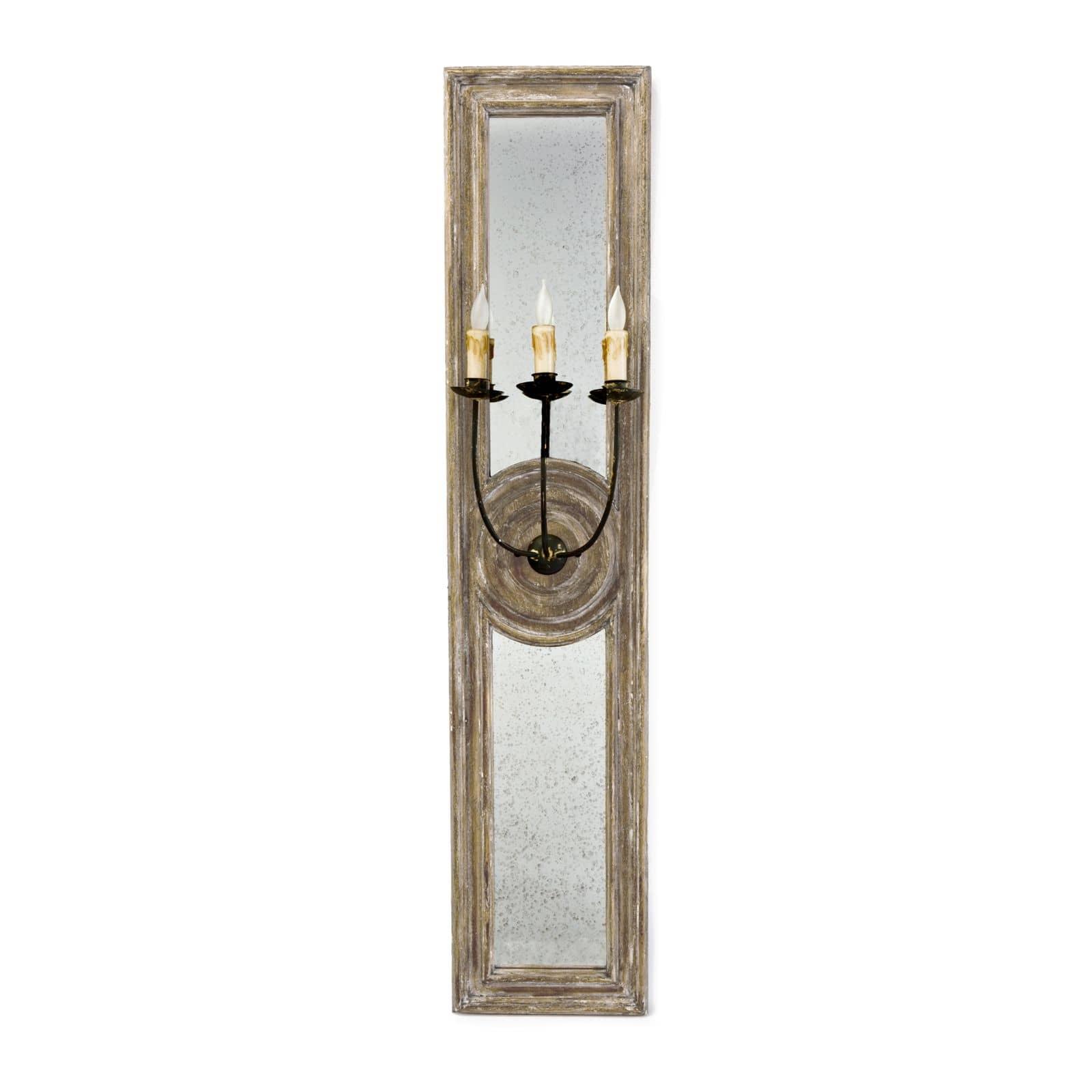 Three Arm Mirror Panel Sconce Large | Regina Andrew