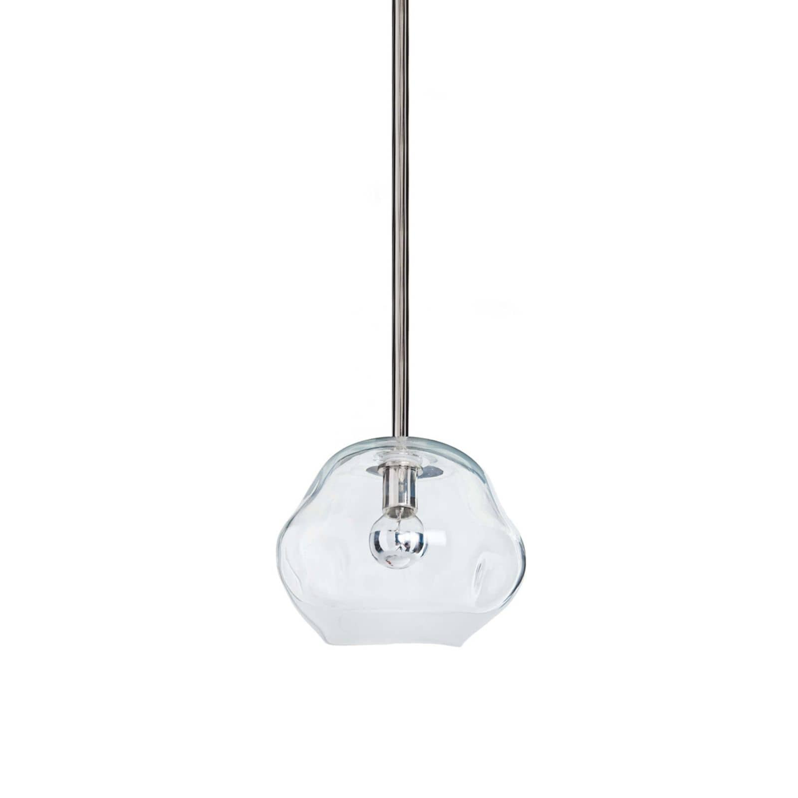 Molten Pendant Small Clear Glass Polished Nickel | Regina Andrew