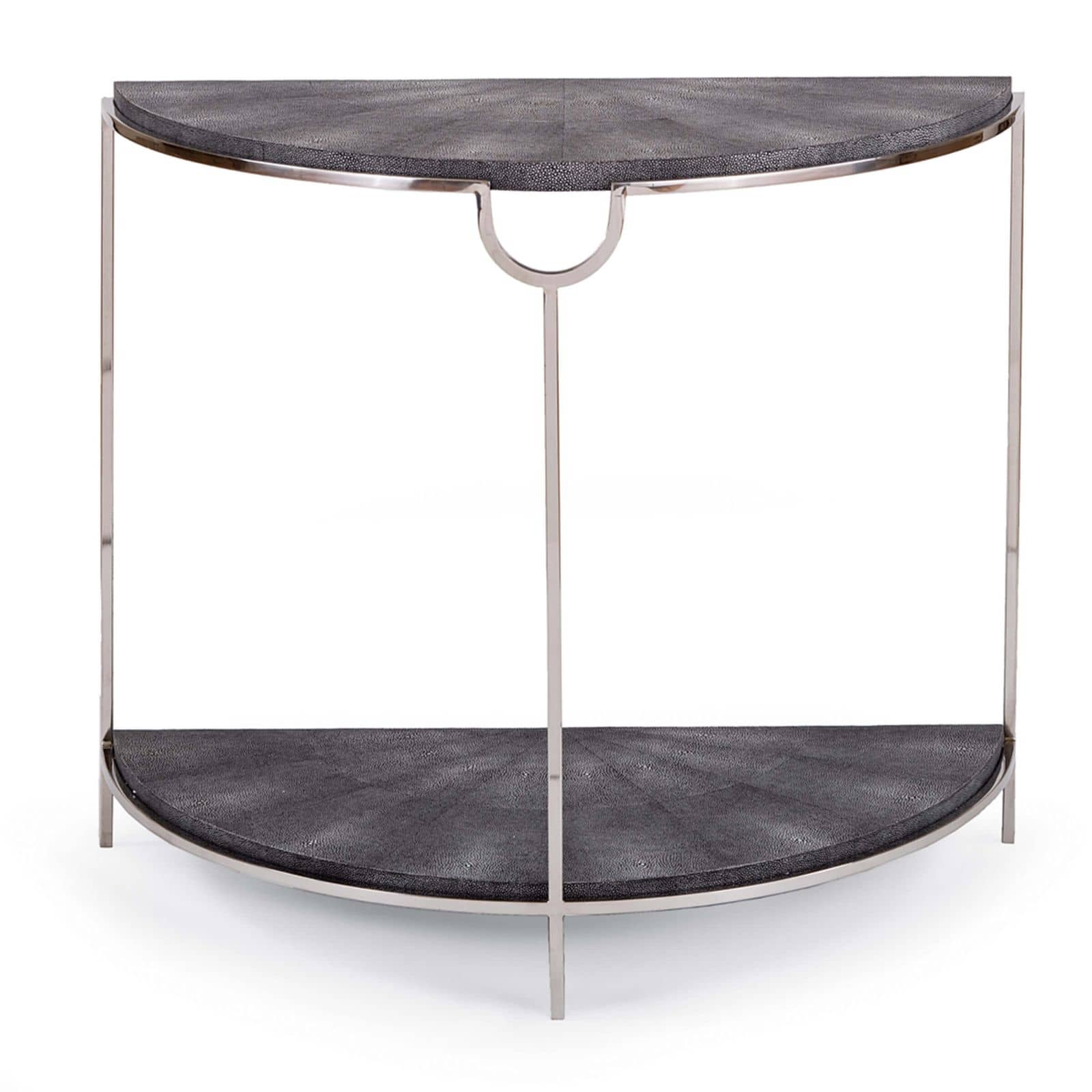 Vogue Shagreen Demilune Console Charcoal and PN | Regina Andrew