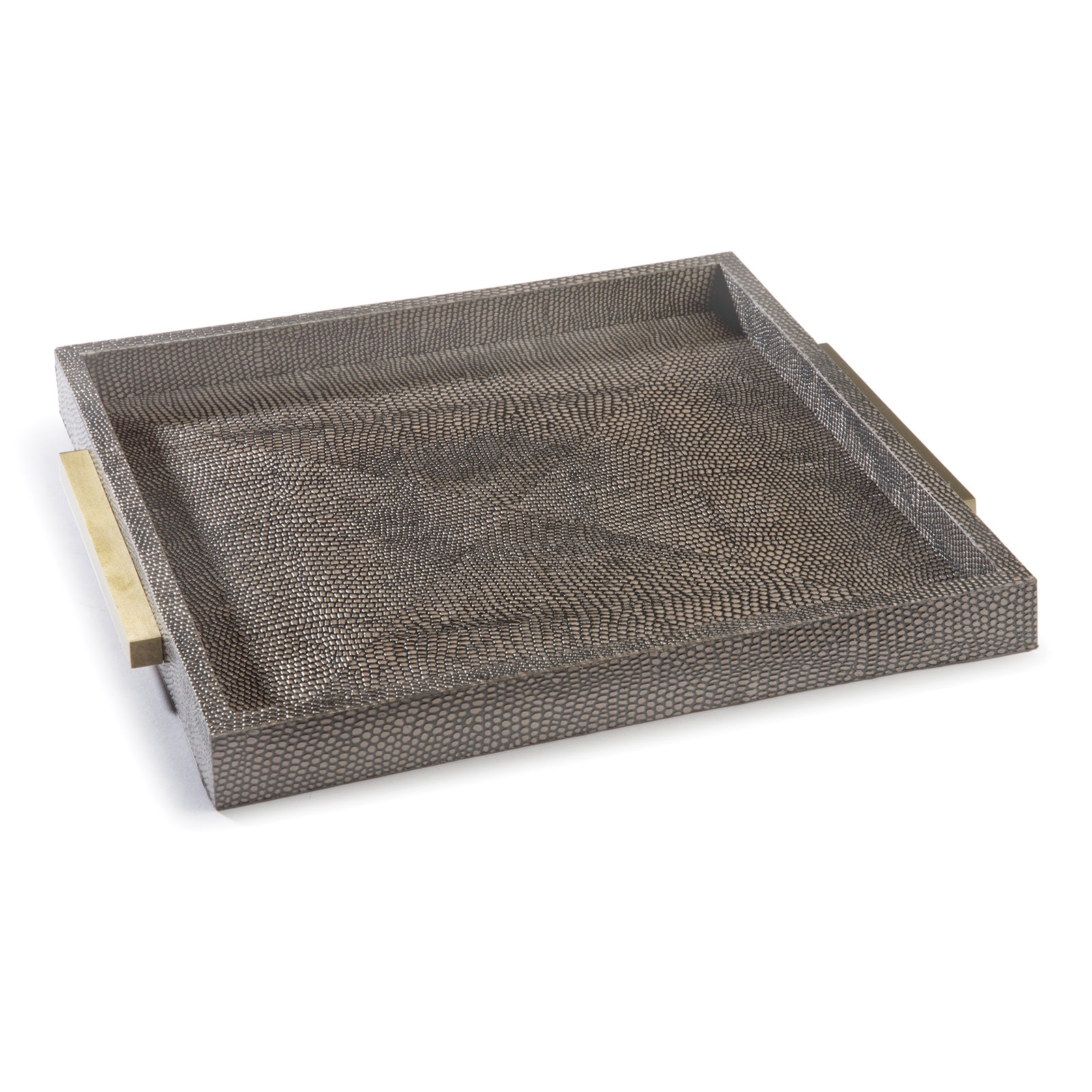 Square Shagreen Boutique Tray Vintage Brown Snake | Regina Andrew