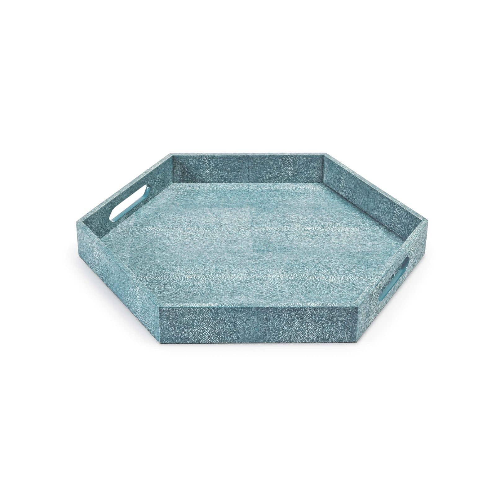 Shagreen Hex Tray Turquoise | Regina Andrew