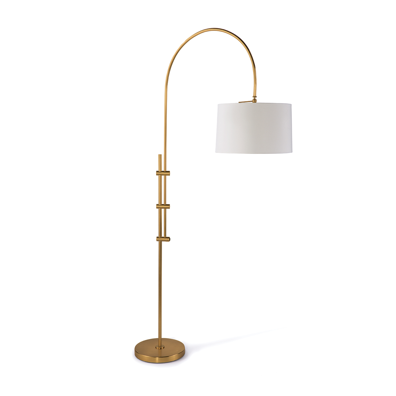 Arc Floor Lamp Fabric Shade Natural Brass | Regina Andrew