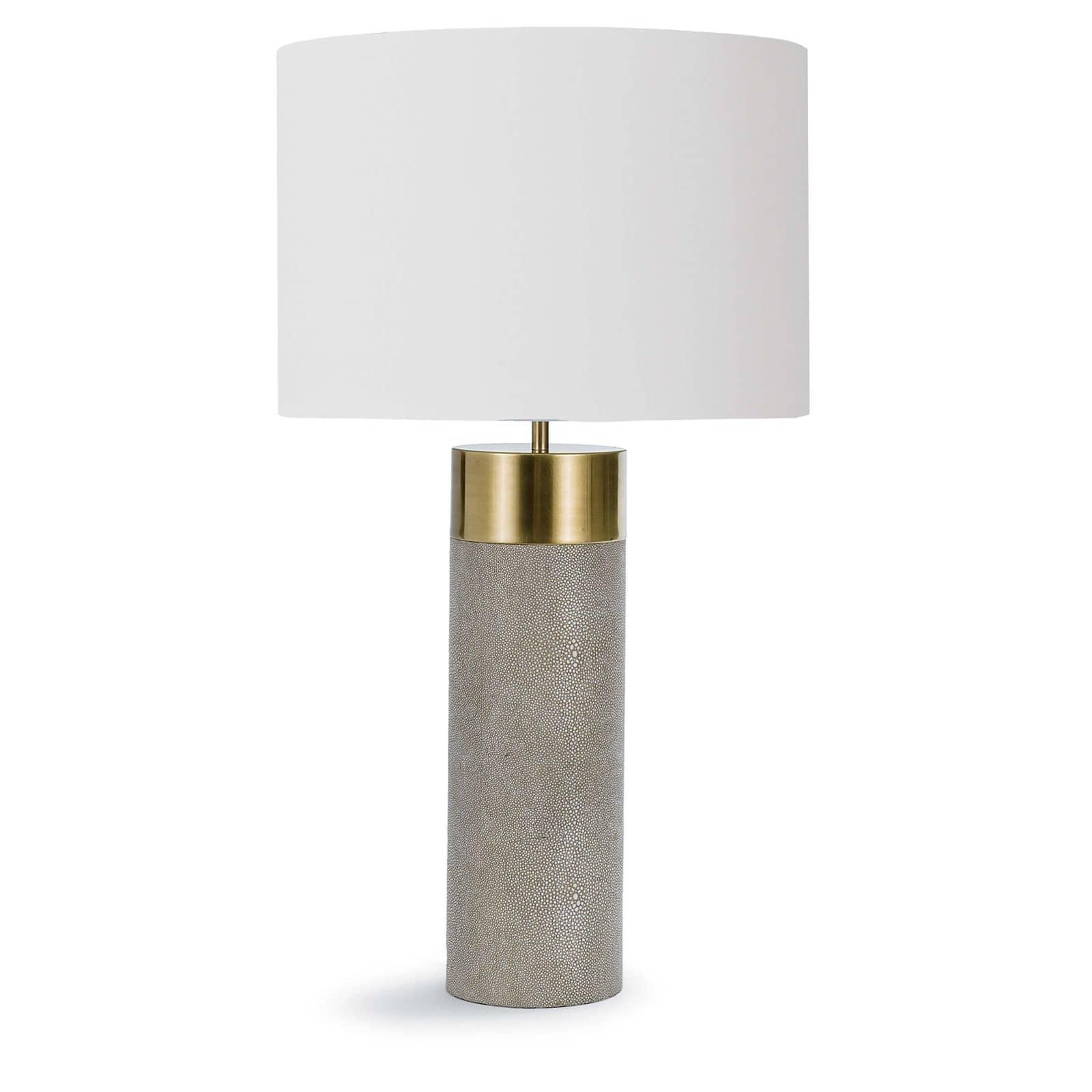 Harlow Ivory Grey Shagreen Cylinder Table Lamp | Regina Andrew