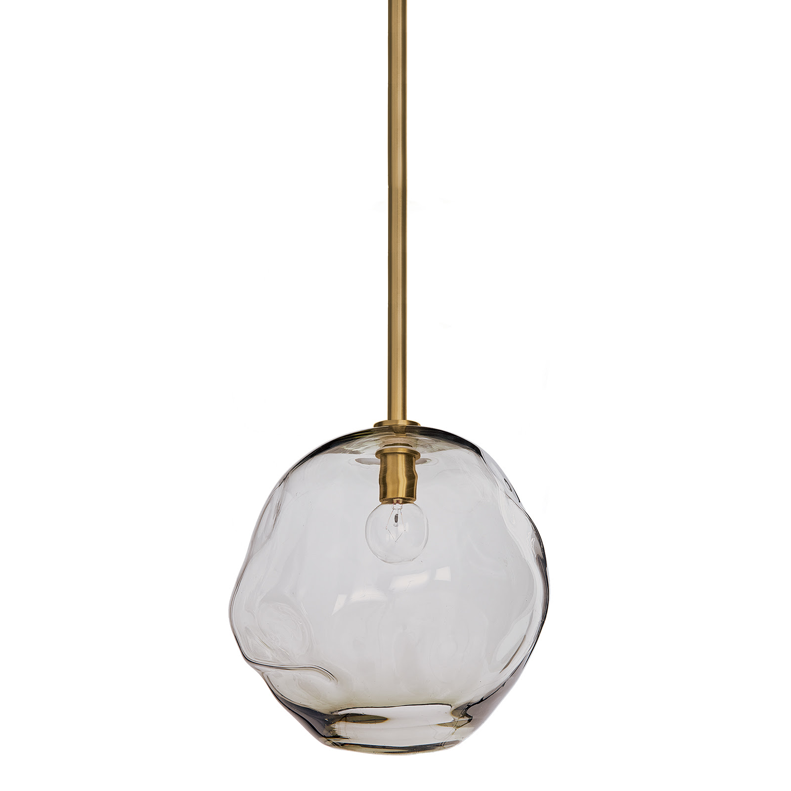 Molten Pendant Large Smoke Glass Natural Brass | Regina Andrew