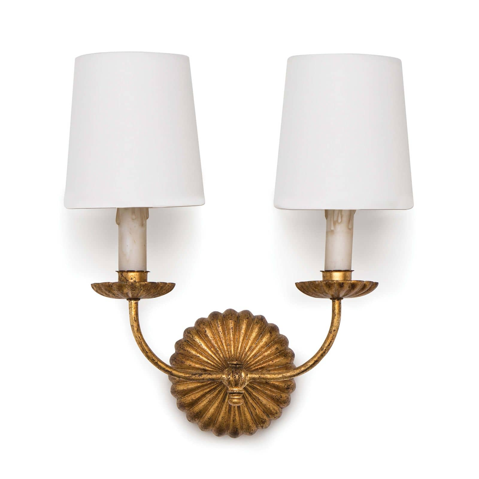 Clove Sconce Double Antique Gold Leaf | Regina Andrew