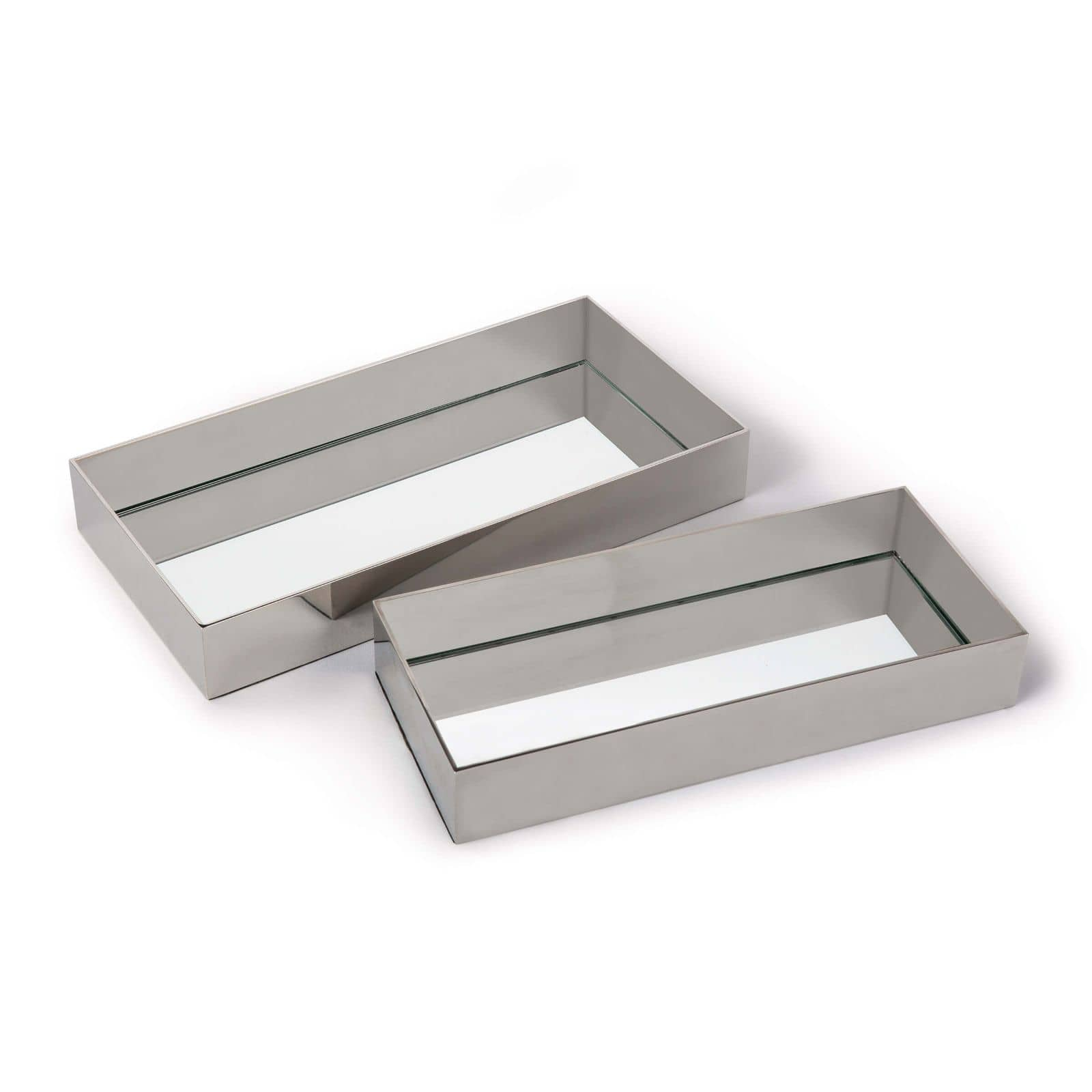 Rectangle Metal Tray Set Polished Nickel | Regina Andrew