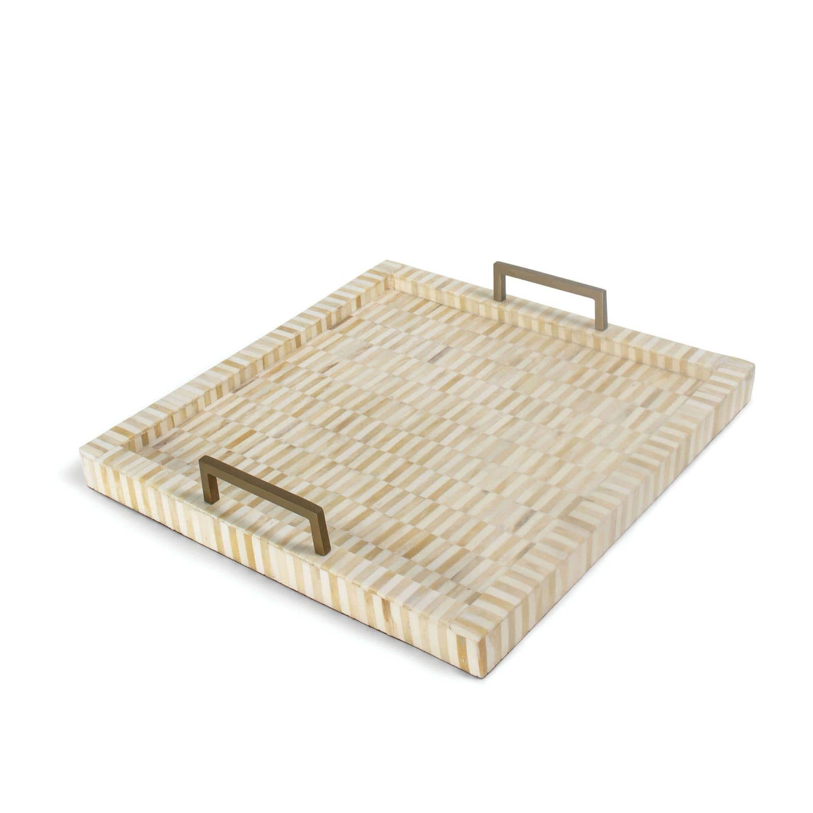 Nevis Square Multi-Tone Bone and Brass Tray | Regina Andrew